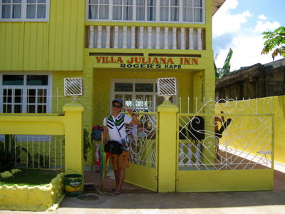 Carlo in front of Villa Juliana inn