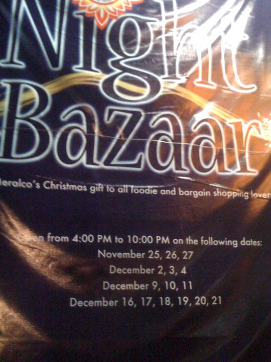 Meralco Liwanag Park 2011 Bazaar dates