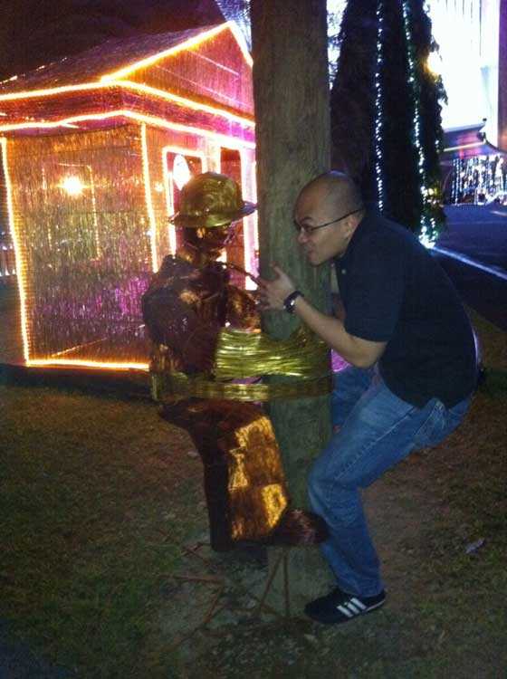 Goofing off at Meralco Liwanag Park