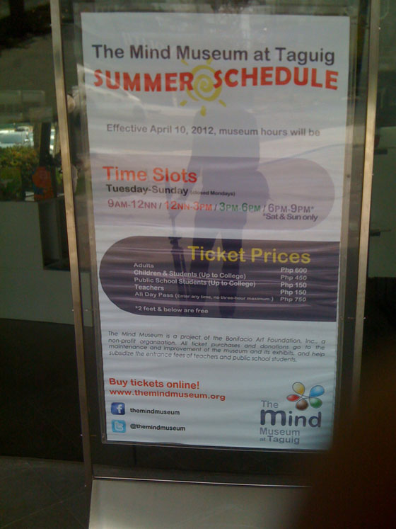 The Mind Museum Summer Schedule