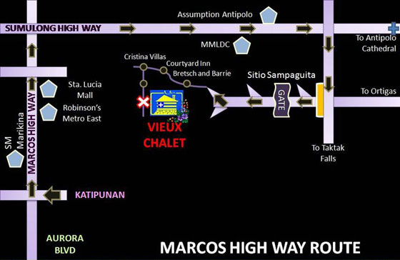 Vieux Chalet Map from Marcos Highway